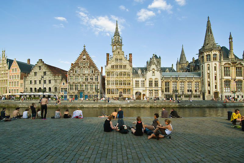 Belgium, Ghent, Graslei canal guild houses and waterfront