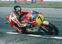 1976  Barcelona, Spain;  Barry Sheene was a british motorcycle racer He rode for the first time in 1970 in the motorcycle world championship a race in Barcelona and took 2nd place in the class 125cc. In 1976 and 1977 he was world champion in the class 500cc with a Suzuli RG500