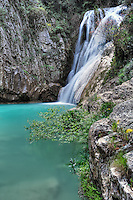 The great waterfall of Polylimnio in Messinia, Greece