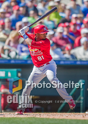 6 March 2016: St. Louis Cardinals outfielder Anthony Garcia in action during a Spring Training pre-season game against the Washington Nationals at Roger Dean Stadium in Jupiter, Florida. The Nationals defeated the Cardinals 5-2 in Grapefruit League play. Mandatory Credit: Ed Wolfstein Photo *** RAW (NEF) Image File Available ***