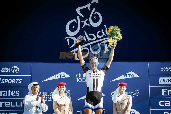 Marcel Kittel (GER) Team Giant-Shimano wins at the end of Stage 2 The Sport Stage of the inaugural Dubai Tour 2014 in the Dubai World Trade Centre, Dubai. 6th February 2014.<br /> Picture: ANSA/Peri-Carconi/ www.newsfile.ie