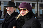 """Pic shows: Twiggy with Husband Leigh Lawson<br /> <br /> <br /> Funeral of Roger Lloyd-Pack - """"Trigger"""" from Only Fools and Horses.<br /> <br /> Mourners arriving at the service at Actors Church in Covent Garden -<br /> <br /> <br /> <br /> <br /> Pic by Gavin Rodgers/Pixel 8000 Ltd"""