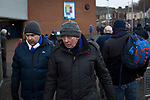 Blackburn Rovers 3 Shrewsbury Town 1, 14/01/2018. Ewood Park, League One. Two fans walking round the ground before Blackburn Rovers played Shrewsbury Town in a Sky Bet League One fixture at Ewood Park. Both team were in the top three in the division at the start of the game. Blackburn won the match by 3 goals to 1, watched by a crowd of 13,579. Photo by Colin McPherson.