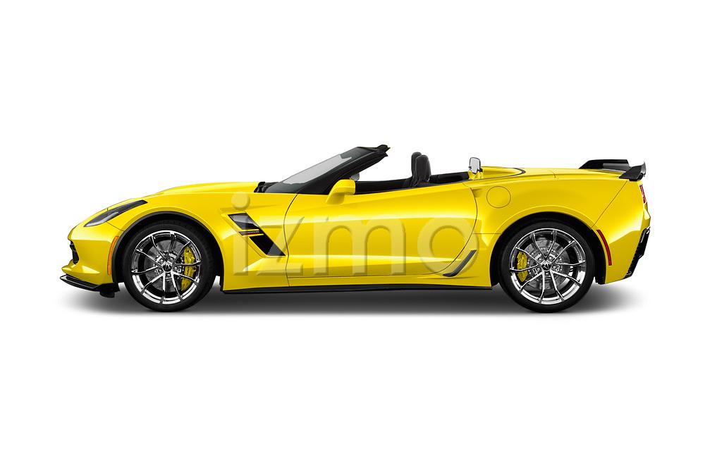 Car Driver side profile view of a 2017 Chevrolet Corvette Grand-Sport-3LT 2 Door Convertible Side View