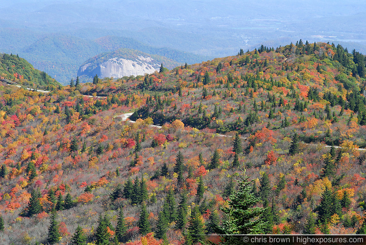 Fall colors surround Looking Glass Rock and the Blue Ridge Parkway.