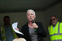 Megan Dobney, Regional Secretary South East TUC (SERTUC) speaking at a rally in Southampton after a joint Unison/Unite march on the day when 5 strikes are taking place: refuse collectors, Itchen Bridge toll collectors, traffic wardens, street cleaners and the cleaners who work for Medirest at Southamnpton General Hospital.