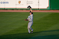 West Michigan Whitecaps right fielder Jacob Robson (7) catches a fly ball during a game against the Peoria Chiefs on May 8, 2017 at Dozer Park in Peoria, Illinois.  West Michigan defeated Peoria 7-2.  (Mike Janes/Four Seam Images)