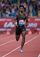 Fred Kerley competing in the Men's 400m Final during the Muller Grand Prix  IAAF Diamond League meeting at Alexander Stadium, Perry Barr, Birmingham.<br /> Picture by Alan Stanford +44 7915 056117<br /> 18/08/2018