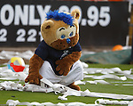 The Dundee mascot pretends to wipe its bottom on the paper rolls thrown from the Dundee Utd fans