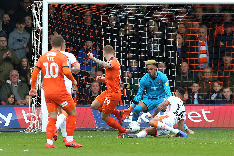 Luton Town's James Collins scores his side's first goal  <br /> <br /> Photographer David Shipman/CameraSport<br /> <br /> The EFL Sky Bet League One - Luton Town v Blackpool - Saturday 6th April 2019 - Kenilworth Road - Luton<br /> <br /> World Copyright © 2019 CameraSport. All rights reserved. 43 Linden Ave. Countesthorpe. Leicester. England. LE8 5PG - Tel: +44 (0) 116 277 4147 - admin@camerasport.com - www.camerasport.com