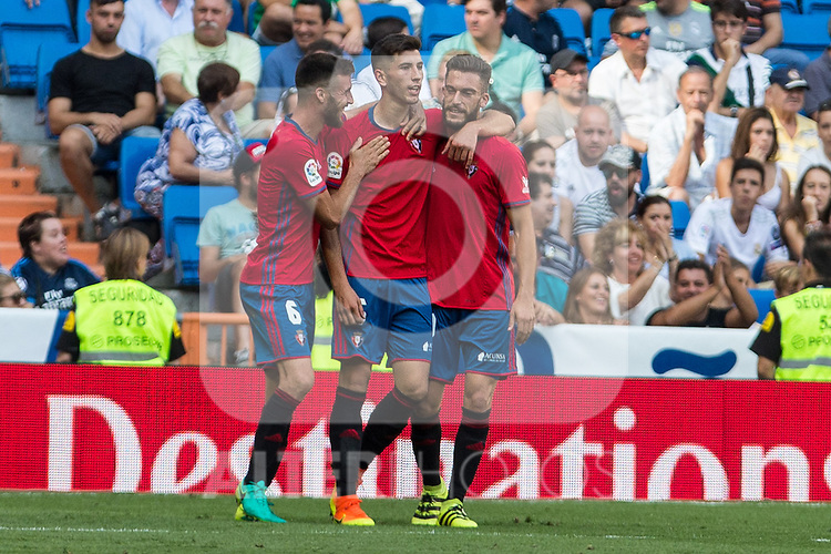 Club Atletico Osasuna's Oier Sanjurjo David Garcia and Roberto torres during the match of La Liga between Real Madrid and Club Atletico Osasuna at Santiago Bernabeu Estadium in Madrid. September 10, 2016. (ALTERPHOTOS/Rodrigo Jimenez)