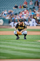 Salt Lake Bees starting pitcher John Lamb (24) during the game against the Sacramento River Cats at Smith's Ballpark on May 17, 2018 in Salt Lake City, Utah. Salt Lake defeated Sacramento 12-11. (Stephen Smith/Four Seam Images)