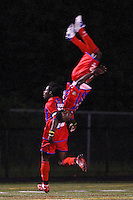 Crystal Palace midfielder Matthew Mbuta (12) does a back flip as forward Gary Brooks (30) celebrates scoring a goal. Crystal Palace FC USA of Baltimore (USL2) defeated the New York Red Bulls (MLS) 2-0 during a Lamar Hunt US Open Cup third round match at Lawrence E. Knight Stadium in Annapolis, Maryland, on July 01, 2008.