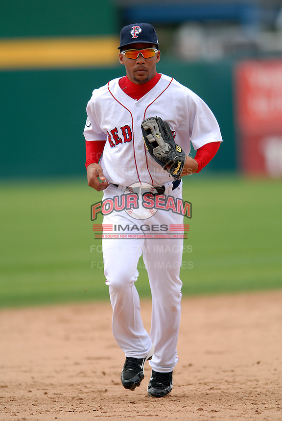 Outfielder Matt Sheely #12 of the Pawtucket Red Sox during a game versus the Gwinnett Braves on May 12, 2011 at McCoy Stadium in Pawtucket, Rhode Island. Photo by Ken Babbitt /Four Seam Images