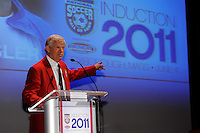 Hall of Fame inductee Bob Gansler gives his acceptance speech during the 2011 National Soccer Hall of Fame induction ceremony in Foxborough, MA, on June 04, 2011.