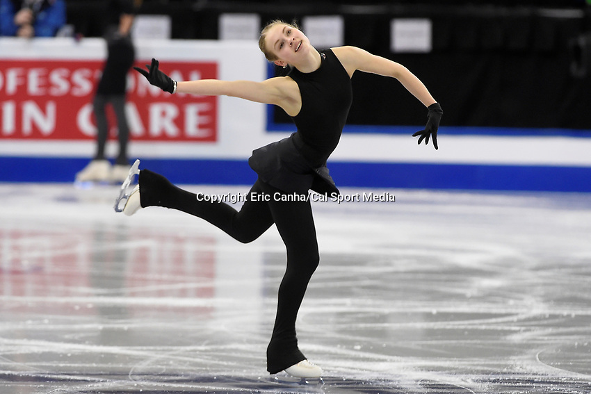 Tuesday, March 29, 2016: Angelina Kuchvalska of Latvia  skates during a practice session at the International Skating Union World Championship held at TD Garden, in Boston, Massachusetts. Eric Canha/CSM