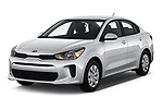 2019 KIA Rio S 4 Door Sedan angular front stock photos of front three quarter view