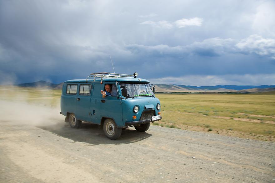 Driving Tsetserleg Central Mongolia