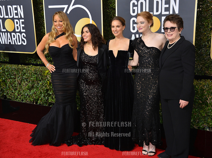 Mariah Carey, America Ferrera, Natalie Portman, Emma Stone &amp; Billie Jean King at the 75th Annual Golden Globe Awards at the Beverly Hilton Hotel, Beverly Hills, USA 07 Jan. 2018<br /> Picture: Paul Smith/Featureflash/SilverHub 0208 004 5359 sales@silverhubmedia.com