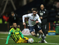 Preston North End's Sean Maguire in action with West Bromwich Albion's Matt Phillips<br /> <br /> Photographer Mick Walker/CameraSport<br /> <br /> The EFL Sky Bet Championship - Preston North End v West Bromwich Albion - Monday 2nd December 2019 - Deepdale Stadium - Preston<br /> <br /> World Copyright © 2019 CameraSport. All rights reserved. 43 Linden Ave. Countesthorpe. Leicester. England. LE8 5PG - Tel: +44 (0) 116 277 4147 - admin@camerasport.com - www.camerasport.com