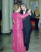 United States President Ronald Reagan and Prime Minister Margaret Thatcher of Great Britain share a dance in the Entrance Hall of the the White House in Washington, D.C. following the dinner in her honor on Wednesday, November 16, 1988.  Thatcher died from a stroke at 87 on Monday, April 8, 2013..Credit: Ron Sachs / CNP