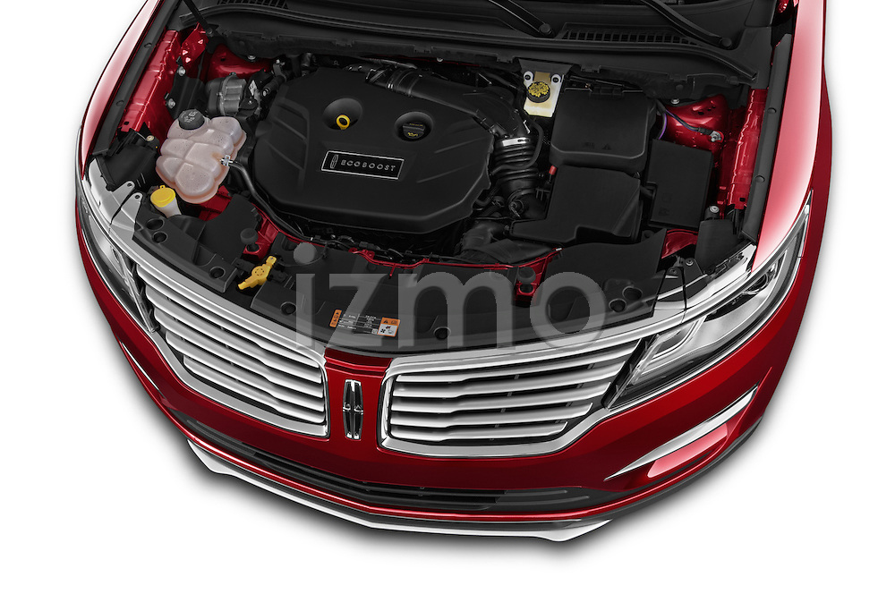 Car Stock 2015 Lincoln MKC FWD 5 Door SUV Engine high angle detail view