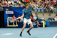 11th January 2020; Sydney Olympic Park Tennis Centre, Sydney, New South Wales, Australia; ATP Cup Australia, Sydney, Day 9; Serbia versus Russia;  Novak Djokovic versus Daniil Medvedev; Daniil Medvedev of Russia hits a forehand to Novak Djokovic of Serbia - Editorial Use