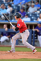 Frisco Rough Riders outfielder Drew Robinson (17) at bat during the second game of a doubleheader against the Tulsa Drillers on May 29, 2014 at ONEOK Field in Tulsa, Oklahoma.  Frisco defeated Tulsa 3-2.  (Mike Janes/Four Seam Images)