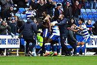 Yakou Meite of Reading middle celebrates with the bench after scoring the third and winning goal  during Reading vs Wigan Athletic, Sky Bet EFL Championship Football at the Madejski Stadium on 9th March 2019