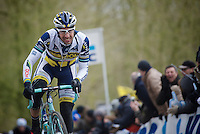 Gent-Wevelgem 2013.Juan Antonio Flecha (ESP) charging up the Kemmelberg