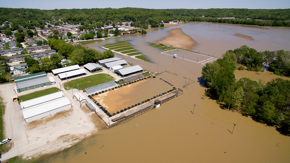 The White River floods the Owen County Fairgrounds in Spencer, Indiana on Sunday, May 7, 2017. (Photo by James Brosher)