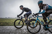 Casper Pedersen (DEN/Aqua Blue) and Gediminas Bagdonas (LTU/AG2R la Mondiale) on the cobbles. <br /> <br /> 73th Dwars Door Vlaanderen (1.UWT)<br /> 1day race: Roeselare &rsaquo; Waregem BEL (180km)