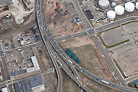 "Eastbound approach to the Pearl Harbor Memorial ""Q"" Bridge just east of Interstate I-95 I-91 CT Route 34 Interchanges. Details of approaches, overpasses, ramps & roadway near or within I-95 New Haven Harbor Crossing Corridor projects confines. Photography taken at the beginning of Contract B1 & E1"