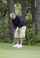 June 23, 2008:  Hollywood comedian Kato Kaelin sets up to put on hole #5 while playing in the Detlef Schrempf celebrity golf classic held at McCormick Woods golf club in Port Orchard, WA.