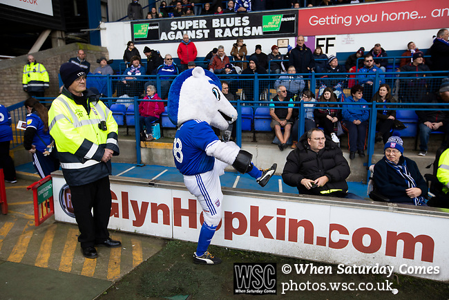 Ipswich Town 0, Oxford United 1, 22/02/2020. Portman Road, SkyBet League One. Bluey the home club's mascot interacts with fans before Ipswich Town play Oxford United in a SkyBet League One fixture at Portman Road. Both teams were in contention for promotion as the season entered its final months. The visitors won the match 1-0 through a 44th-minute Matty Taylor goal, watched by a crowd of 19,363. Photo by Colin McPherson.
