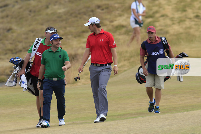 Andy SULLIVAN (ENG) and Bernd WIESBERGER (AUT) walk to the 17th green during Thursday's Round 1 of the 2015 U.S. Open 115th National Championship held at Chambers Bay, Seattle, Washington, USA. 6/18/2015.<br /> Picture: Golffile | Eoin Clarke<br /> <br /> <br /> <br /> <br /> All photo usage must carry mandatory copyright credit (&copy; Golffile | Eoin Clarke)