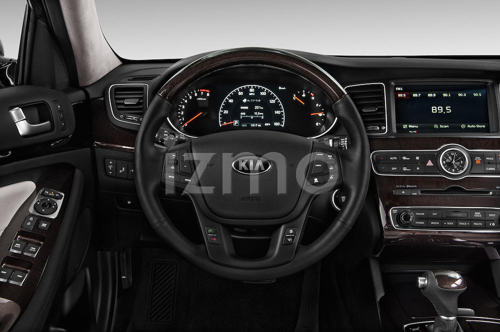 Steering wheel view of a 2014 KIA Cadenza Sedan