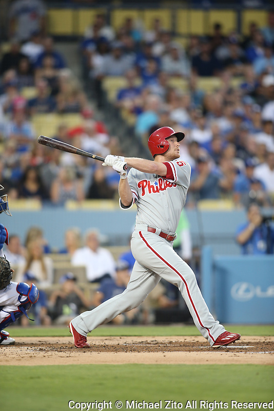 August 9, 2016 Los Angeles, CA: Philadelphia Phillies left fielder Cody Asche #25 during a MLB game between the Los Angeles Dodgers and the Philadelphia Phillies played at Dodger Stadium.