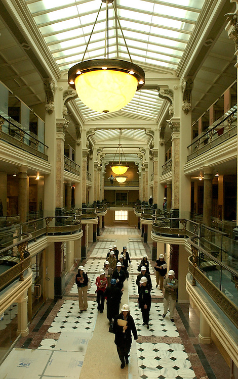 Members of the media walk through the Luce Foundation Center for the American Arts, in the National Portrait Gallery and the Smithsonian American Art Museum, during a tour of the site that is scheduled to open July 1, 2006, after a six year renovation project.
