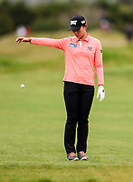 Lydia Ko takes a drop after loosing her ball out of bounds. McKayson NZ Women's Golf Open, Round Two, Windross Farm Golf Course, Manukau, Auckland, New Zealand, Friday 29 September 2017.  Photo: Simon Watts/www.bwmedia.co.nz