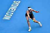 10th January 2018, Sydney Olympic Park Tennis Centre, Sydney, Australia; Sydney International Tennis, round 2; Gabrine Muguruza (ESP) hits a forehand in her match against Kiki Bertens (NED)