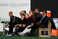 Head coach Abner Rogers of the Los Angeles Sol watches the action from the bench with his players. The Los Angeles Sol defeated Sky Blue FC 2-0 during a Women's Professional Soccer match at TD Bank Ballpark in Bridgewater, NJ, on April 5, 2009. Photo by Howard C. Smith/isiphotos.com