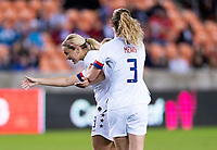 HOUSTON, TX - JANUARY 28: Abby Dahlkemper #7,  Lindsey Horan #9 and Sam Mewis #3 of the United States celebrate a goal during a game between Haiti and USWNT at BBVA Stadium on January 28, 2020 in Houston, Texas.