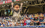 23 June 2013: The San Diego Padres Mascot, The Swinging Friar, entertains the fans during a game against the Los Angeles Dodgers at Petco Park in San Diego, California. The Dodgers defeated the Padres 3-1, splitting their 4-game Divisional Series at 2-2. Mandatory Credit: Ed Wolfstein Photo *** RAW (NEF) Image File Available ***