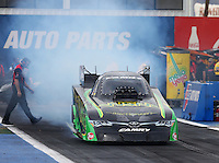 Feb 20, 2015; Chandler, AZ, USA; NHRA funny car driver Chad Head during qualifying for the Carquest Nationals at Wild Horse Pass Motorsports Park. Mandatory Credit: Mark J. Rebilas-