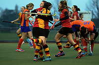 Action from the National Women's Association Under-18 Hockey Tournament match between Tauranga and Waikato at Twin Turfs in Clareville, New Zealand on Friday, 14 July 2017. Photo: Dave Lintott / lintottphoto.co.nz