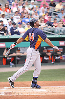 Houston Astros right fielder J.D. Martinez (14) follows through on his swing against the Miami Marlins during a spring training game at the Roger Dean Complex in Jupiter, Florida on March 12, 2013. Houston defeated Miami 9-4. (Stacy Jo Grant/Four Seam Images)........
