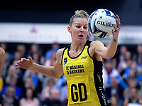 Katrina Grant takes a pass during the ANZ Premiership netball final between the Central Pulse and Southern Steel at Arena Manawatu in Palmerston North, New Zealand on Sunday, 12 August 2018. Photo: Dave Lintott / lintottphoto.co.nz