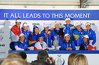 The winning European Team in the interview room after the Solheim Cup 2019 at Gleneagles Golf CLub, Auchterarder, Perthshire, Scotland. 15/09/2019.<br /> Picture Thos Caffrey / Golffile.ie<br /> <br /> All photo usage must carry mandatory copyright credit (© Golffile | Thos Caffrey)