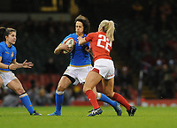 Italy&rsquo;s Manuela Furlan is tackled by Wales Alecs Donovan <br /> <br /> Photographer Ian Cook/CameraSport<br /> <br /> 2018 Women's Six Nations Championships Round 4 - Wales Women v Italy Women - Sunday 11th March 2018 - Principality Stadium - Cardiff<br /> <br /> World Copyright &copy; 2018 CameraSport. All rights reserved. 43 Linden Ave. Countesthorpe. Leicester. England. LE8 5PG - Tel: +44 (0) 116 277 4147 - admin@camerasport.com - www.camerasport.com